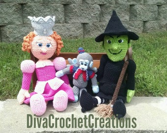 Wicked Witch of the West and her flying monkey doll, Glinda doll, handmade crochet, The Wizard of Oz, collectible
