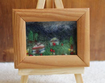 Miniature Wet-Felted Mountains And Yurts In Flowering Meadow With Needle-Felted Details And Easel