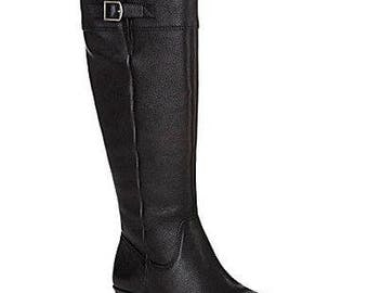 ARTURO CHIANG Black Leather Wedge Boots Sz 8