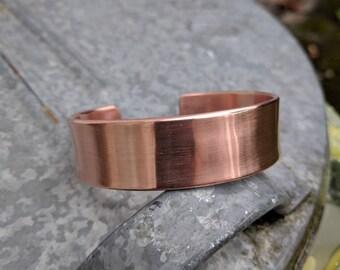HANDMADE op maat gemaakte brede koper bangle armband