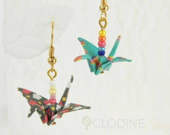 Teal / Black origami crane earrings, Origami jewelry, Paper jewelry, Origami crane, Bird jewelry, Traditional Japanese, Rainbow, Flower