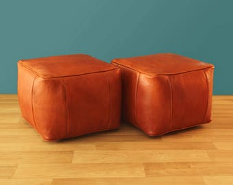 X2 Brown Leather Moroccan Pouf, Brown Ottoman, Handmade Leather Pouf