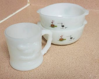 BC comics Hart Anchor Hocking milk glass bowls and milk glass grog cup