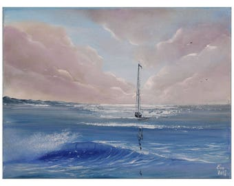 Sailboat Painting, Seascape, Ship Painting, Ocean Waves, Yacht Art, Turquoise Coastal Landscape, Original Small Oil Painting on Canvas