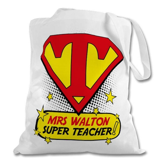 Personalised Super Teacher Tote Bag - ideal as end of term teacher gifts