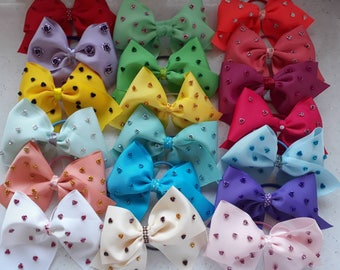 """5"""" elastic tie hair bow with metal rose embellishments- huge colour range over 3 listings"""