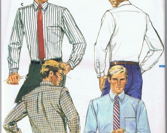 1985 Mens Shirt Size 15 Sewing Pattern Butterick #3445  Tapered & Full Cut Factory Fold