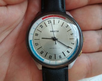 Raketa 24h, rocket, soviet watch raketa 24, russian watch, mechanical watch