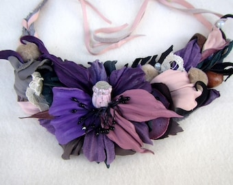 Purple Poppy Necklace, leather poppy necklace, Poppy Necklace, Leather necklace Poppy, Purple necklace flower, Valentine's day gift, Purple