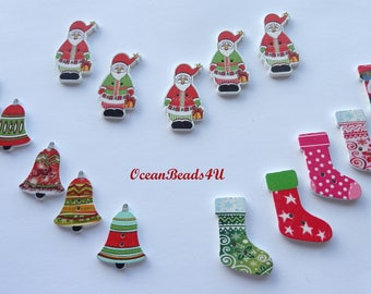 15 Wooden Christmas Buttons with two Holes, Christmas Wooden Buttons, Sewing Buttons, Printed Buttons, Wooden Button,  Holzknöpfe