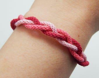 Adjustable pink braided kumihimo bracelet