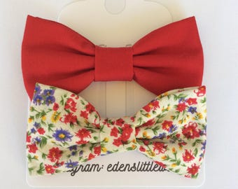 Red bow tie, floral Bow tie, clip bow tie, baby bow tie, toddler bow tie, kid bow tie, men's bow tie