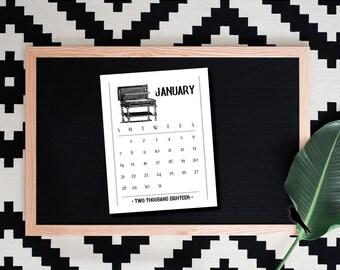 2018 Printable Desk Calendar - Vintage Furniture 12 Month Printable Desk Calendar - Fun Vintage 2018 Instant Download Calendar