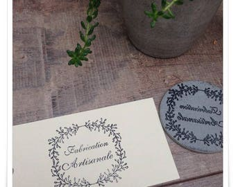 an attractive Crown rubber stamp unmounted with handwriting * Fabrication Artisanale *.