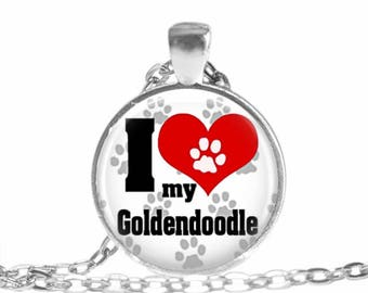 I love my Goldendoodle Necklace Goldendoodle jewelry Goldendoodle Keychain Key fob Pet Lover Necklace dog lover gift Pet lover gift