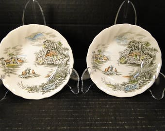 """TWO Johnson Brothers Happy England Berry Bowls 5"""" Set of 2 EXCELLENT!"""