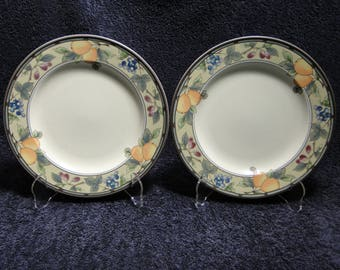"TWO Mikasa Garden Harvest Dinner Plates 11"" Intaglio CAC29 Set of 2 EXCELLENT!"