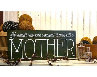 Christmas Gift for Mother, Mom,  Primitive Country Hand Painted Wooden Sign, Great Birthday Gift for Mom, Holiday Gifts
