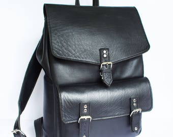 Black Leather Backpack  - Hand Stitched, Top Grain Leather