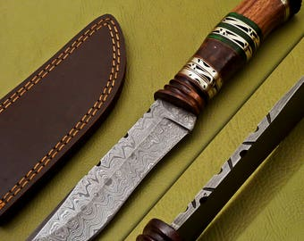 100% Custom Hand Made Damascus Steel Fixed Blade Hunting knife With Real Leather Sheath
