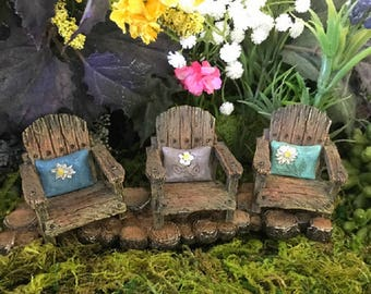 Miniature Rustic Adirondack Chair with a Pillow - Your Choice of 3 colors!!