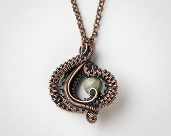 Wire Wrapped Pendant - African Jade - Copper Jewelry