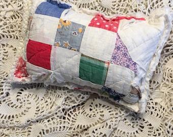 White Patchwork Quilt Posing Pillow/ Newborn Posing Pillow/ Posing Pillow