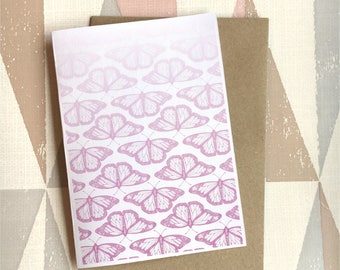 Butterfly Pink Card, Butterfly Greetings Card, Animal Card