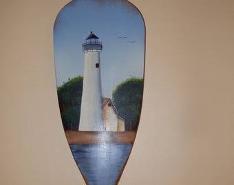 Handpainted paddle ? oar with Lighthouse .