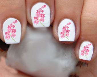 1323 Pink Flowers Waterslide Nail Art Decals Enough For 2 Manicures