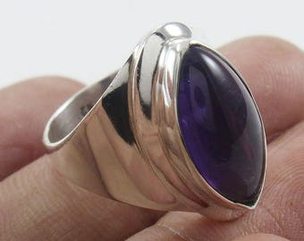 100% Solid 925 Sterling Silver Amethyst Handmade Jewelry Ring Size US 8""