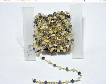 ON SALE 50% Wire Wrapped Rondelle Beads, 10 Feet Iolite & Rainbow Wire Wrapped Rosary Style Beaded Chain, Chain By The Foot, 24KT Gold Plate