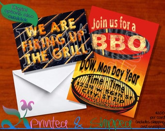BBQ Fire Up the Grill Invitation; Folded Card; Postcard; PDF; E-Card