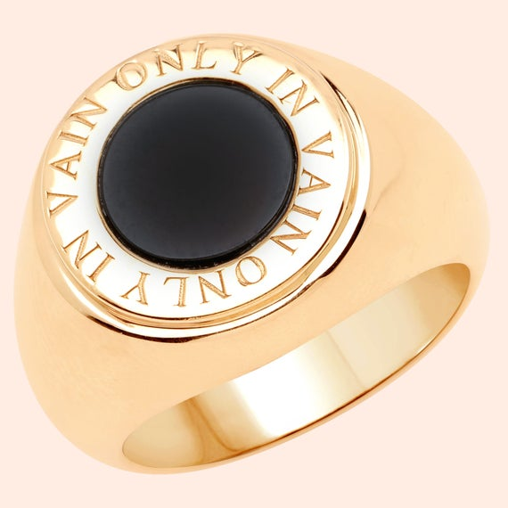 Lovely new Womens 14ct gold Onyx Eclipse signet ring men or women sizes