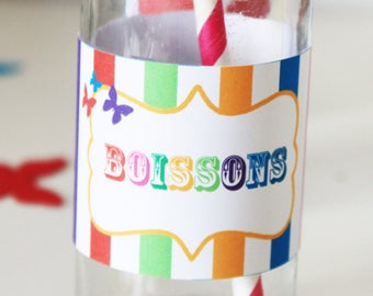 6 bottles - theme Rainbow and Butterfly - personalized labels