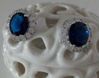 Elegant earrings with vintage blue sapphire Stone of the years 1990