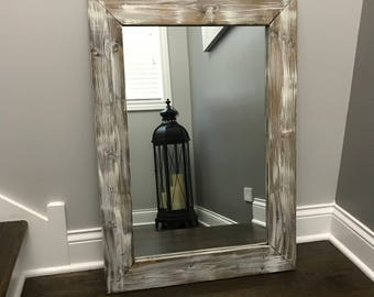 Rustic mirror etsy antique white bathroom wood mirror farmhouse decor rustic mirrors wall floor mirrors framed altavistaventures Images