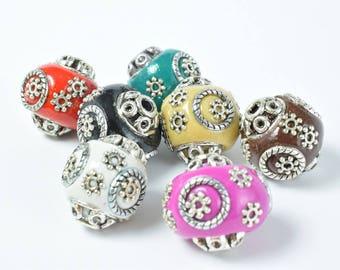 Indonesian Kashmir Clay Beads Handmade Beads 6 PCs, Bohemian Bali Style Jewelry Making Decorative Round Beads