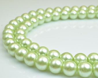 Glass Pearl Beads Round Size 8mm Shine Light Green Round Ball Beads for Jewelry Making