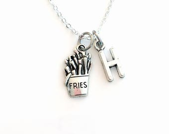 French Fries Necklace, Gift for Teenage Boy Jewelry, Junk Fast Food Fry Teen Girl Teenager, Silver charm Initial Birthstone present long him