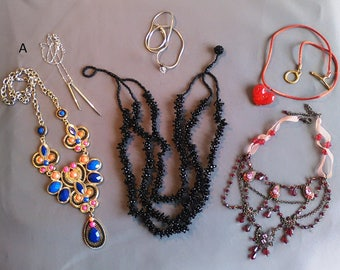 3 pretty necklaces, substantial, good taste and quality above 3 necklaces: 2 sticks, Heart Rhinestone red heart