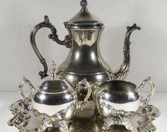 FB Rogers 1883 Silver Co Silver Plate Tea Set Tea Pot Creamer Sugar with Top Tray