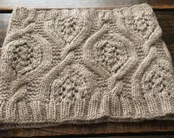 Leafy Cable Cowl -- Beige/Taupe Neutral -- Alpaca Wool Blend -- Ready to ship