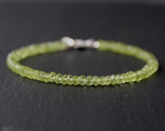 SALE 15% OFF: Peridot Bracelet, August Birthstone, All Peridot Bracelet, Dainty Beaded Gemstone Bracelet