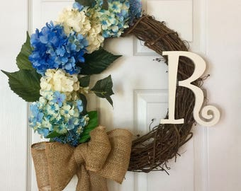 Hydrangea Wreath, Spring Floral Wreath, Custom Hydrangea Wreath, Hydrangea Grapevine Wreath, Anytime Wreath, Monogram Wreath, Blue Hydrangea