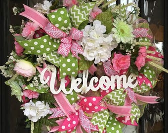 Sharyn Kaye's, Welcome Wreath, Spring Wreath, Summer Wreath, Mesh Wreath, Pink and Green Wreath, Mesh Wreath, Spring Front Door,
