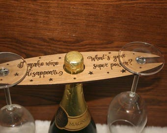 Personalised oak wine bottle and glass holder