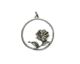 Rose pendant for chain 34 mm