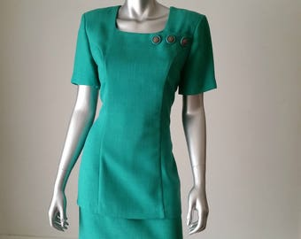 Emerald Green Dress | 80s Dress Small | Wiggle Dress Vintage | Short Sleeve Dress | Square Neck Dress |