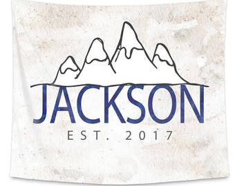 Mountain Personalized Wall Tapestry | Nursery Wall Art | Custom Personalized Wall Tapestry | Monogram Tapestry